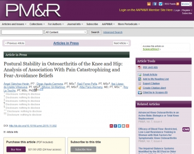 Postural Stability in Osteoarthritis of the Knee and Hip: Analysis of Association with Pain Catastrophizing and Fear-Avoidance Beliefs